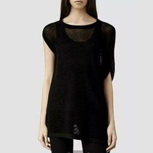 All Saints | Aster Grid Knit Tee Tunic Black